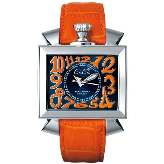 GAGA MILANO 6000.4NAPOLEONE 48MMガガミラノ ナポレオーネ 48ユニセックス 自動巻き 腕時計レザー ステンレスオレンジ×ブルー 母の日 月末バーゲンセール 新築祝 年越し
