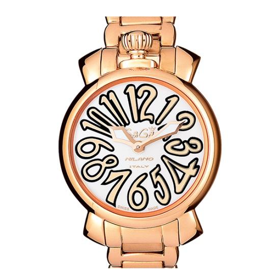 GAGA MILANO 6021.1MANUALE 35MM 18K PVDガガミラノ マヌアーレ 35ユニセックス クオーツ 腕時計ステンレスピンクゴールド×ホワイト