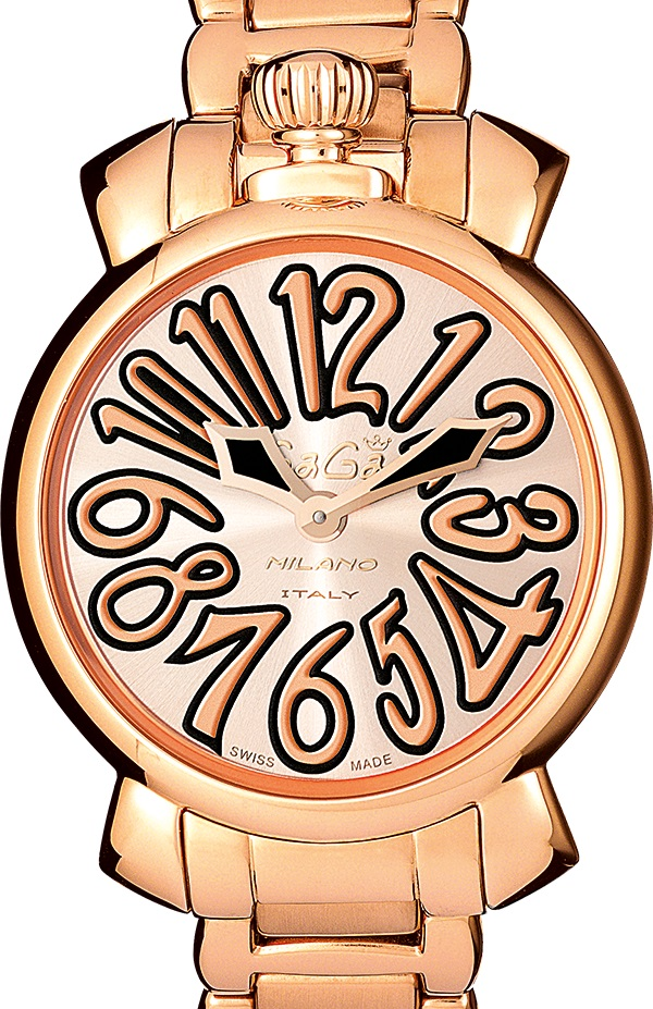 GAGA MILANO 6021.5MANUALE 35MM 18K PVDガガミラノ マヌアーレ 35ユニセックス クオーツ 腕時計ステンレスピンクゴールド×ピンクゴールド