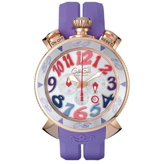 GAGA MILANO 6056.9-PUR RUBBERCHRONO 48MM 18K PVDガガミラノ クロノ 48ユニセックス クオーツ 腕時計シリコンラバー ステンレスパープル×マルチカラー