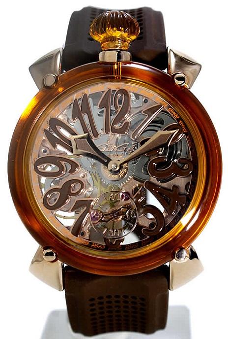 GAGA MILANO 6091.02-BRWMANUALE 48MM Crystalガガミラノ マヌアーレ 48ユニセックス 手巻き 腕時計シリコンラバー クリスタル&18KPGブラウン系×クリスタル