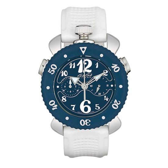 GAGA MILANO 7010.01CHRONO SPORT 45MMガガミラノ クロノスポーツ 45ユニセックス クオーツ 腕時計シリコンラバー ステンレスホワイト×ブルー系