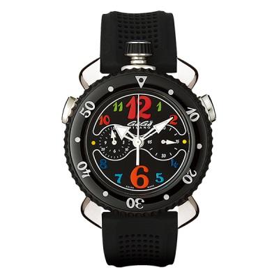 GAGA MILANO 7010.02CHRONO SPORTS 45MMガガミラノ クロノスポーツ 45ユニセックス クオーツ 腕時計シリコンラバー ステンレスブラック×マルチカラー