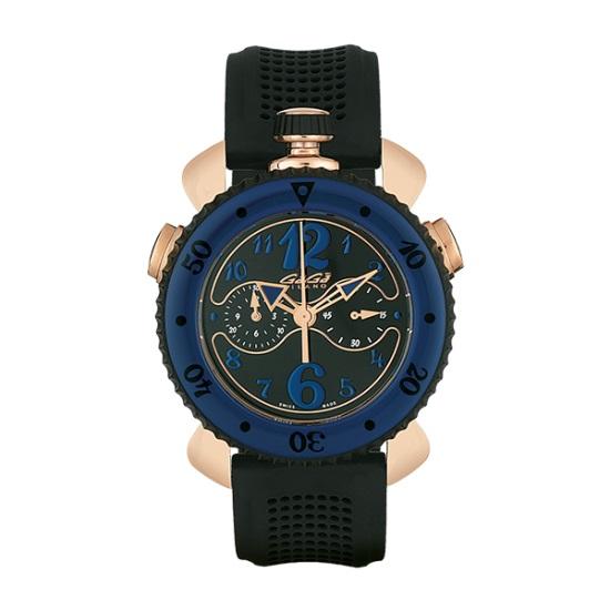 GAGA MILANO 7011.01CHRONO SPORTS 45MMガガミラノ クロノスポーツ 45ユニセックス クオーツ 腕時計シリコンラバー ラバー&18KPGステンレスブラック×ブルー