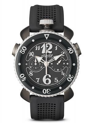 GAGA MILANO 7013.01CHRONO SPORTS 45MMガガミラノ クロノスポーツ 45ユニセックス クオーツ 腕時計シリコンラバー&グレーPVDステンレスグレー×ブラック