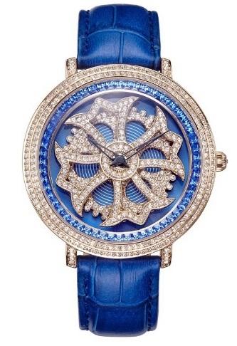 Anne Coquine 1101-0303CROSS SILVER SWAROVSKI WATCHBLUE×BLUE ぐるぐる時計アン コキーヌ クロスシルバースワロフスキーウォッチブルー×ブルー