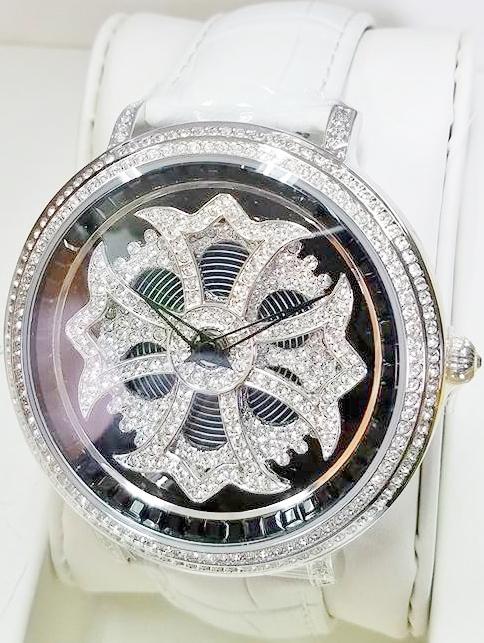 Anne Coquine 1101-0201CROSS SILVER SWAROVSKI WATCHWHITE×BLACK ぐるぐる時計アン コキーヌ クロスシルバースワロフスキーウォッチホワイト×ブラック