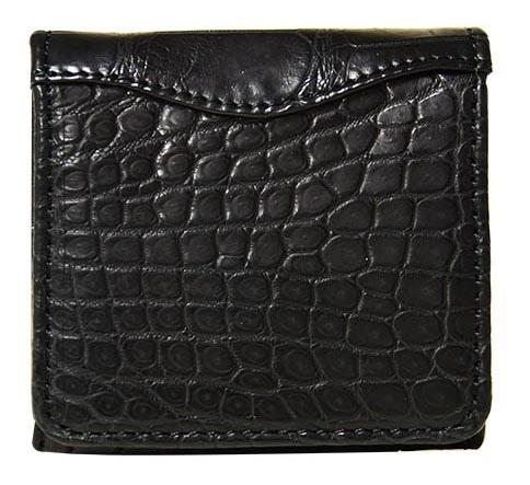 CROCODILE SUC-8889 STYLE CROCOクロコダイル マットクロコダイル革スナップ開閉ボックス型小銭入財布 ブラック×ブラック※イメージ画像 裁断箇所によって柄が変わります。