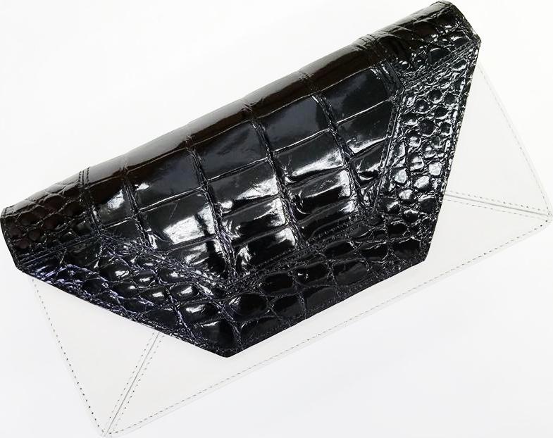 CROCODILE DS-001 STYLECROCO DRESS CLOSETクロコダイル ドレスクローゼット パーティー クラッチバッグクロコダイル革(シャイニング仕上)×カーフレザー艶有ブラック×オフホワイト 日本製(JRA加盟)