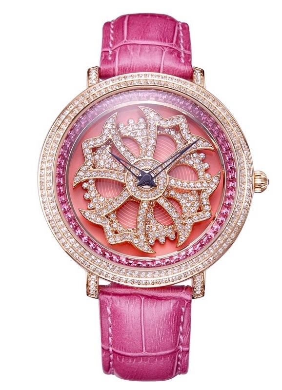 DAVENA 30330 SWAROVSKI WATCHダベナ スワロフスキー ウォッチユニセックス 革バンド腕時計 クォーツピンク×ピンクゴールド本家本元 グルグル時計