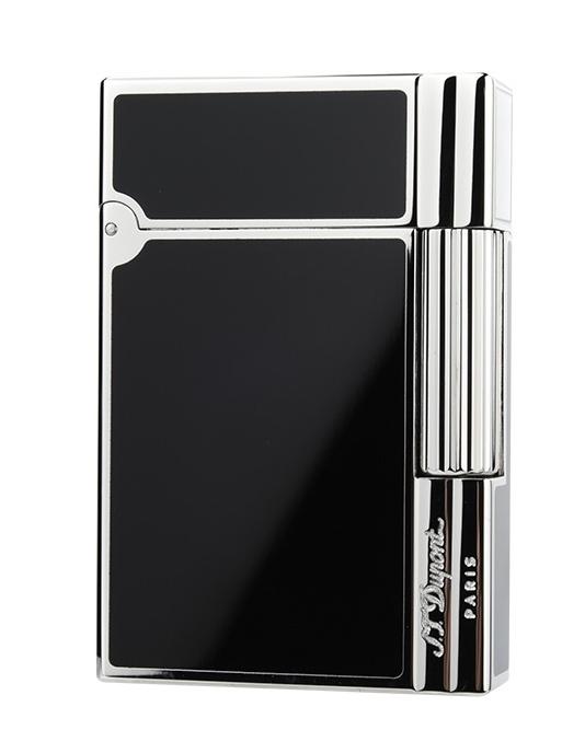 S.T.Dupont 18109 GATSBY NEW COLLECTION エス・テー・デュポン ガスライターギャツビー ニューコレクション純正黒漆×シルバー(パラジウムメッキ仕上げ)※対応ガス/グリーンラベル