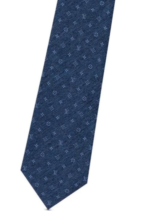 LOUIS VUITTON M75915ルイヴィトン クラヴァット・デニムベリッシュブルーマリーヌシルク42%・コットン58% ネクタイ 148×8cmLOUIS VUITTON 純正BOX & リボン