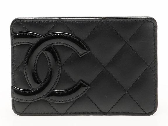 CHANEL A26725 CANBON CARD CASEシャネル カンボンライン カードケース名刺入カーフ×エナメルブラック×ブラック×ショッキングピンク