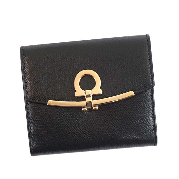 SalvatoreFerragamo 22C877-673998-BKサルヴァトーレフェラガモ Wホック財布レザー ブラック×ゴールド※取寄品