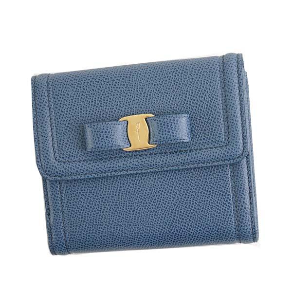 Salvatore Ferragamo22C911-673757フェラガモ Wホック二折財布レザーブルー×ゴールド