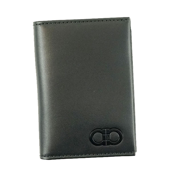 SalvatoreFerragamo 660737-661524-BKサルヴァトーレフェラガモ カードケースレザー ブラック×ブラウン※取寄品