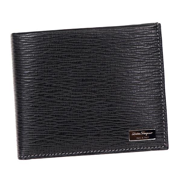 Salvatore Ferragamo667070-351306フェラガモ 二折小銭財布レザーブラック×シルバー