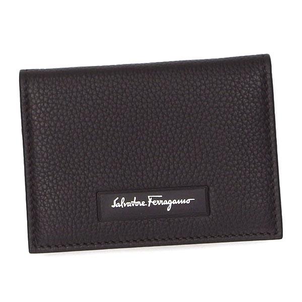 Salvatore Ferragamo660289-636398フェラガモ カードケースカーフレザーダークブラウン×シルバー