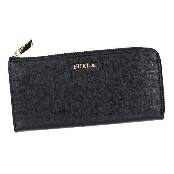 FURLA PN07-745850フルラ L字ファスナー長財布レザーブラック×ゴールド