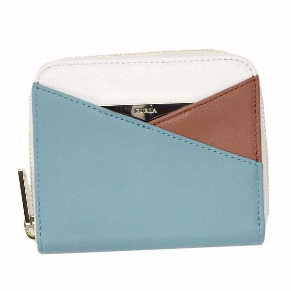 FURLA PN65-810877フルラ 二折小銭財布レザーブルー×ベージュ×ホワイト