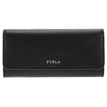 FURLA 871069 ONYX BABYLONフルラ スナップ長財布レザー(ラミネート加工牛床革)ブラック×ゴールド