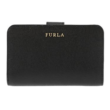 FURLA 872836 ONYX BABYLONフルラ スナップ二折財布レザー(ラミネート加工牛床革)ブラック×ゴールド