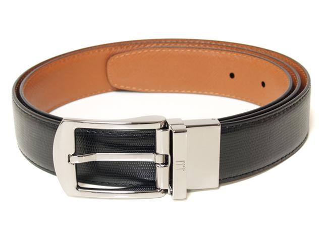 dunhill HPC060A42 (HPC760A/18F4T23CA)ダンヒル メンズ ベルトカーフスキン ブラックxブラウンサイズ調整可能※取寄品