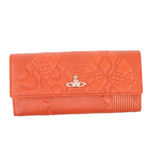 Vivienne Westwood32928-HOGARTHヴィヴィアンウエストウッドホック長財布レザーオレンジ×ゴールド