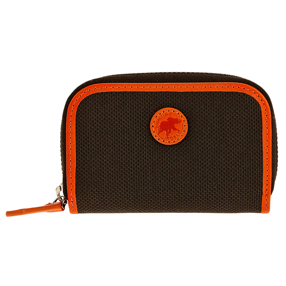 HUNTING WOLRD 677-435ハンティングワールド 小銭入コルデュラナイロン×レザーダークブラウン×オレンジ
