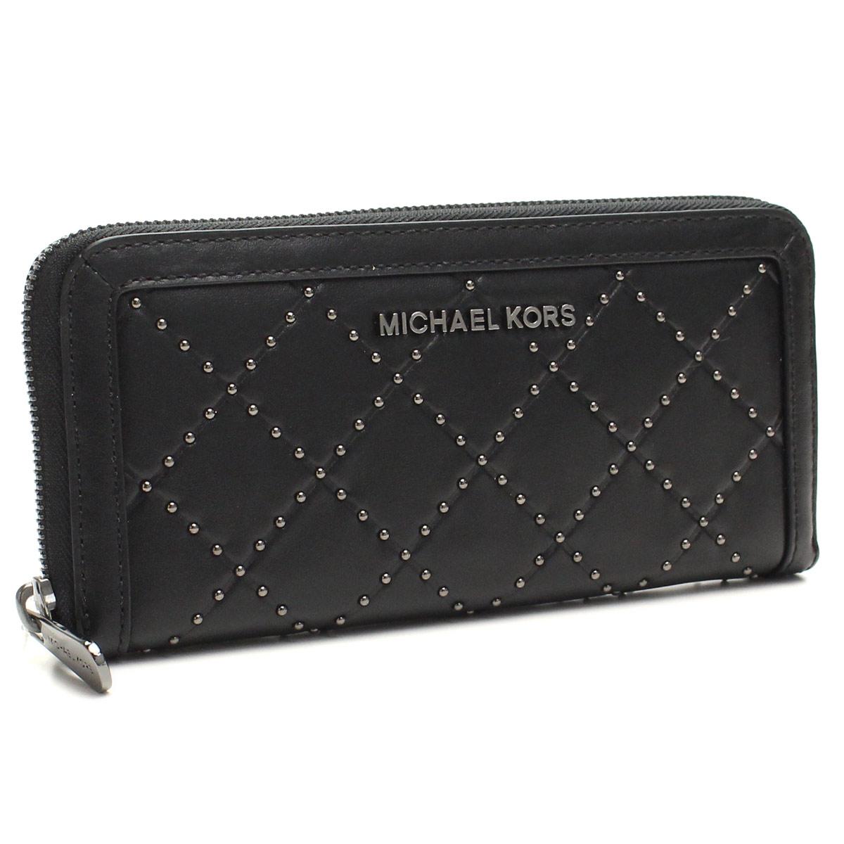 MICHAEL KORS 32F5TM1E2L-BLACKマイケルコース  ラウンドファスナー長財布レザー BLACK/金具ガンメタリック
