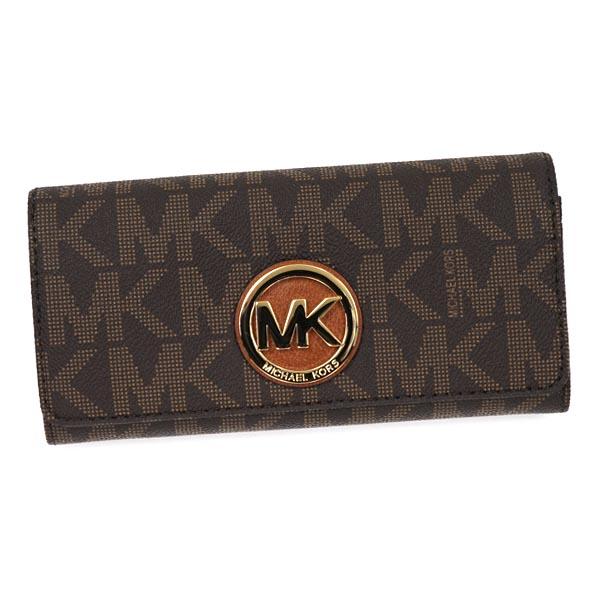 MICHAEL KORS 32S4GFTE3B-200マイケルコース ホック長財布型押レザーブラウン×ゴールド