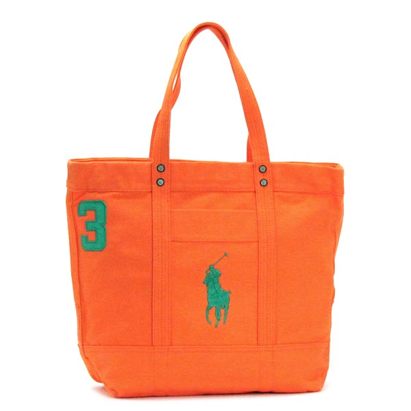 RALPH LAUREN405530701-004ラルフローレン トートバッグコットンキャンバスオレンジ×グリーン