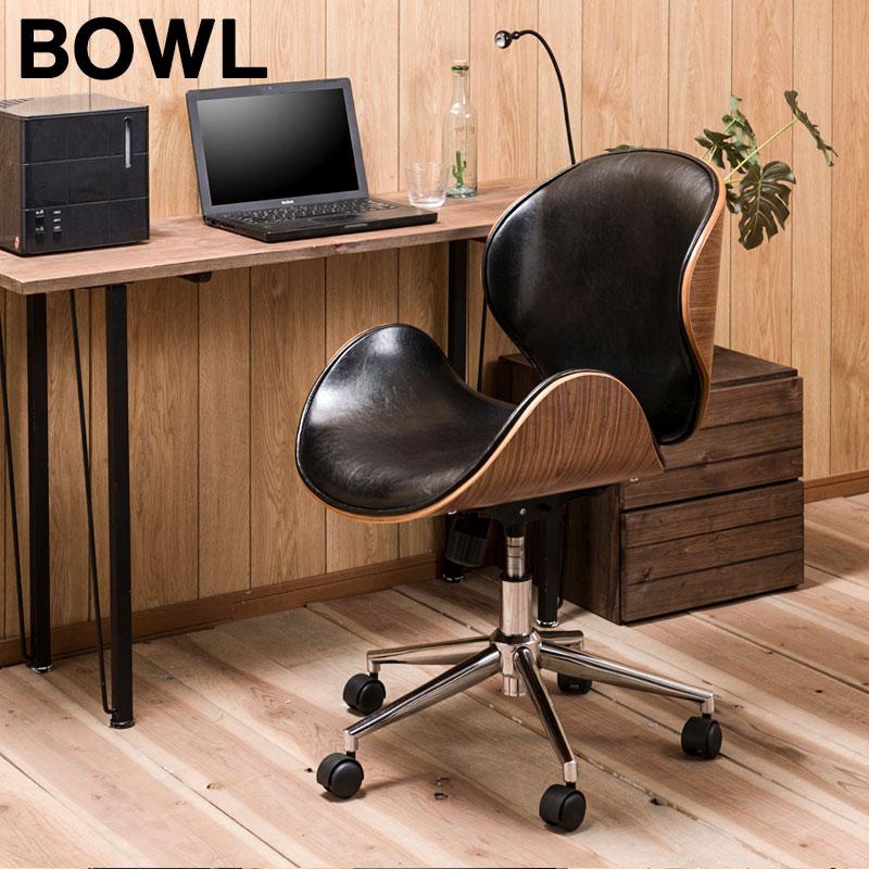 【bowl】キャスター付きチェア アメリカンヴィンテージ オフィスチェア イス ワークチェア 椅子 ミッドセンチュリ― レトロ かっこいい おしゃれ ブラックレザー レザー ブラック 黒 レッド 赤 椅子 イス