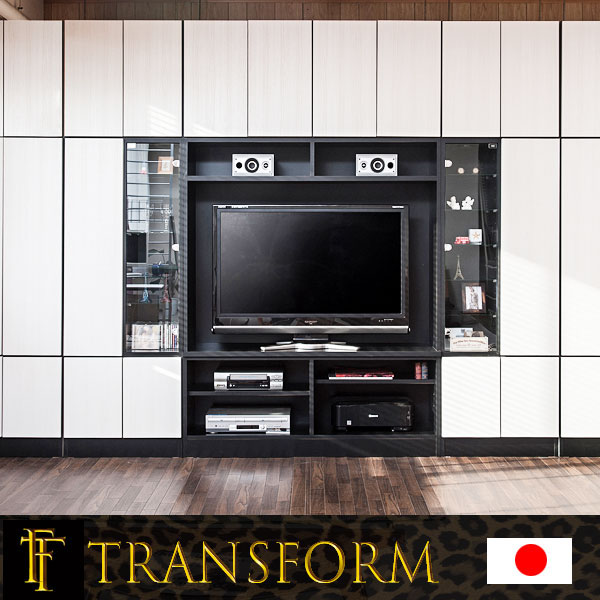 【Transform】トランスフォームシリーズ ユニットシステム壁面収納 幅60 中台 レンジタイプ ブラック色 ラック 棚 白家具 木製 完成品 ブラウン ホワイト つっぱり テレビ台 薄型 本棚 テレビボード