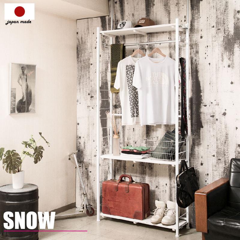 【snow】スノーシリーズ 突っ張り壁面間仕切りハンガーラック 幅90 奥行30 ホワイト色 ワードローブ クローゼット つっぱり棚 つっぱりラック 収納棚 収納ラック オープンラック インテリア 壁面収納 おしゃれ