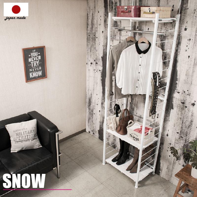 【snow】スノーシリーズ 突っ張り壁面間仕切りハンガーラック 幅60 奥行40 ホワイト色 ワードローブ クローゼット つっぱり棚 つっぱりラック 収納棚 収納ラック オープンラック インテリア 壁面収納 おしゃれ