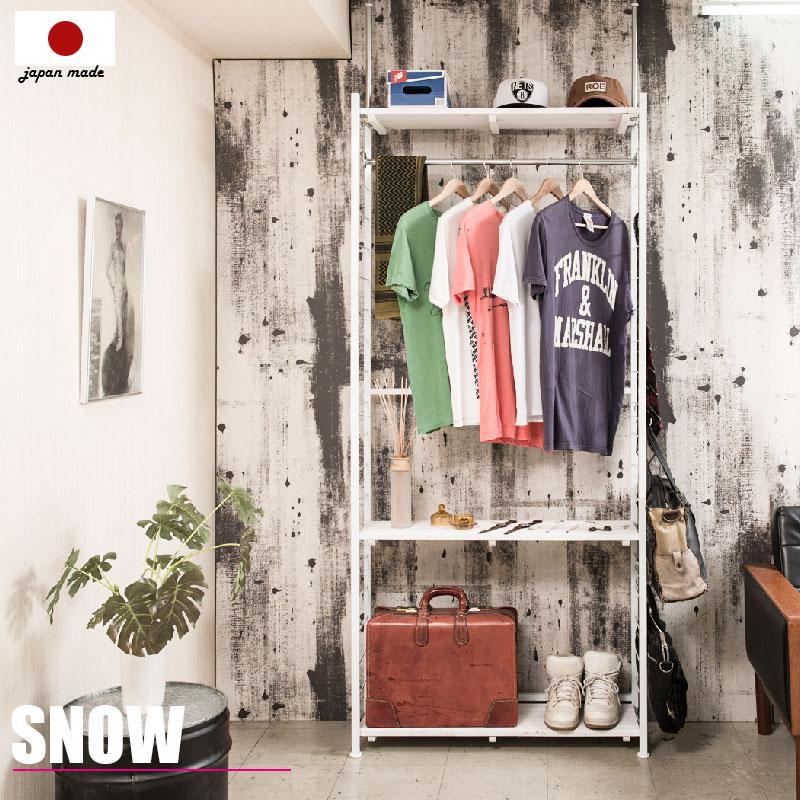 【snow】スノーシリーズ 突っ張り壁面間仕切りハンガーラック 幅90 奥行40 ホワイト色 ワードローブ クローゼット つっぱり棚 つっぱりラック 収納棚 収納ラック オープンラック インテリア 壁面収納 おしゃれ