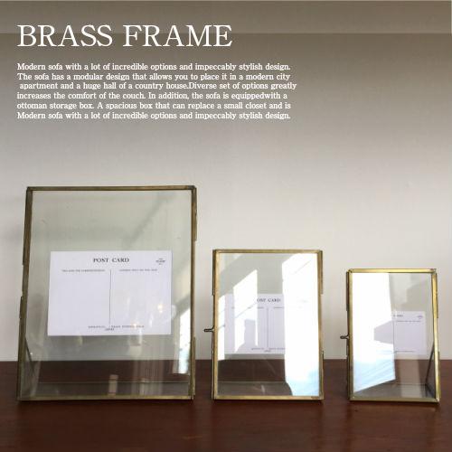 ビンテージテイストのガラスフォトフレーム 誕生日 お祝い Glass frame M 真鍮 スチール 写真立て フォトフレーム 額縁 アンティーク 新商品!新型 ビンテージ ガラスフレーム