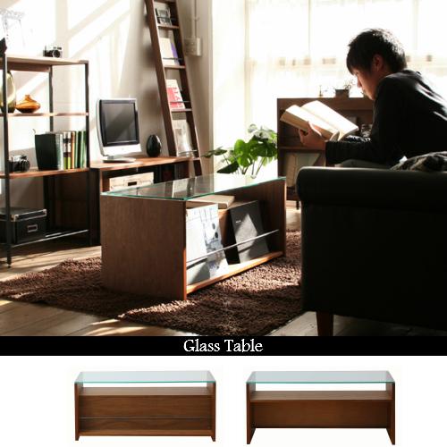 【送料無料】Glass Table/ガラステーブル【テーブル ウッドテーブル リビングテーブル 木製 ガラス スチール ウォールナット ミッドセンチュリー 北欧風 アンティーク カリモク60】