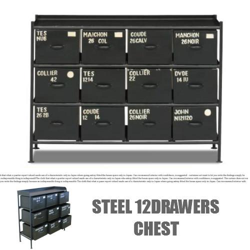 【送料無料】STEEL 12DRAWERS CHEST/スチール12ドロアーズチェスト【スチールチェスト/インダストリアル/ドロアー/ビンテージ/TVボード/ローボード】