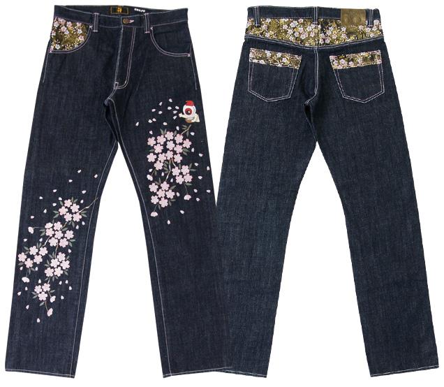 全国 どこでも 送料無料 !!春夏新作!!【 ZEN 】「花咲か親父」【 禅 】金櫻手描きジーンズ