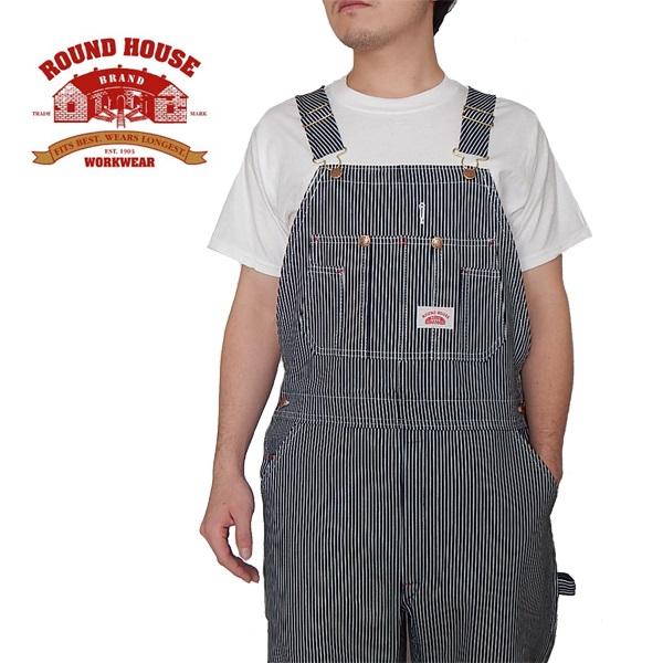 日本人向けレングス30インチROUND HOUSE ラウンドハウス ヒッコリー ストアー ストライプ オーバーオール 毎日激安特売で 営業中です USA MADE IN アメリカ製 45