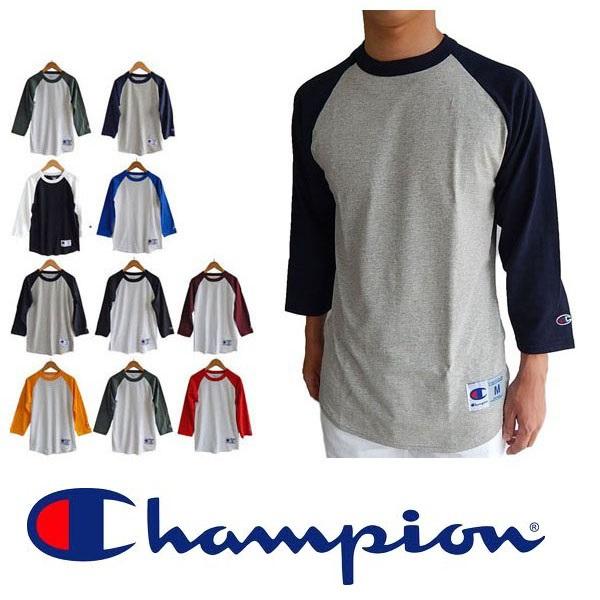 Champion チャンピオンラグラン袖 七分袖 ベースボールTシャツ ロンt 長袖 ロングスリーブ tシャツ