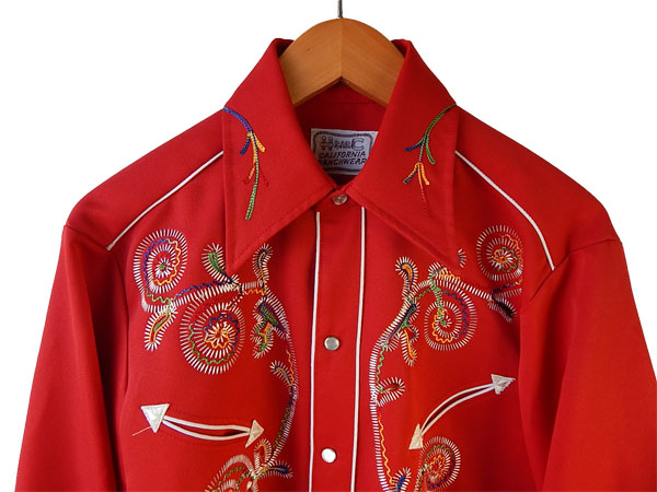 H BAR C Rainbow stitch Embroidery Western shirt vintage