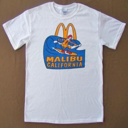 캘리포니아 맥도날드 말리 부 해변 서핑 T 셔츠