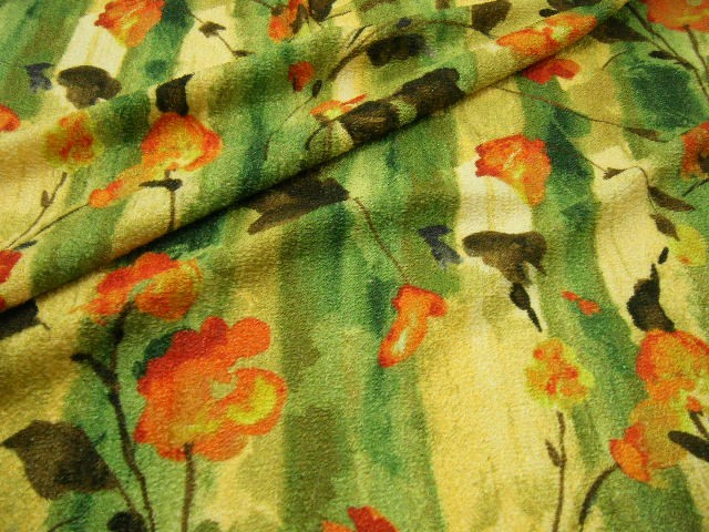 【 3.2m全部で 19,800円 】110cm巾 ☆ 上質 フラワー柄 ツッキリジャガード 生地 ☆ 山吹色×オレンジ×グリーンmix ♪ ≪日本製 激安 布 服地 布地 生地 ≫【 宅配便のみです 】e10ke787 t