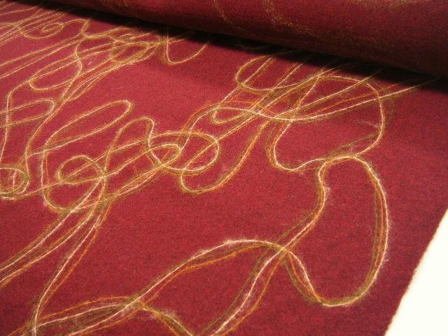 【 送料無料 】【 2,2m着分で 29,800円 】150cm巾なので色々作れます!☆ ニードルパンチ ウール生地 少し薄め ややかため デザインウール☆ エンジmix ♪e11ke826 bJ
