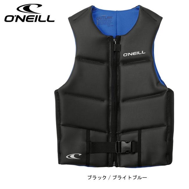 【O'NEILL/オニール】アウトローコンペベスト(ブラック/ブライトブルー) WB-1540 ライフベスト メンズ 大人用