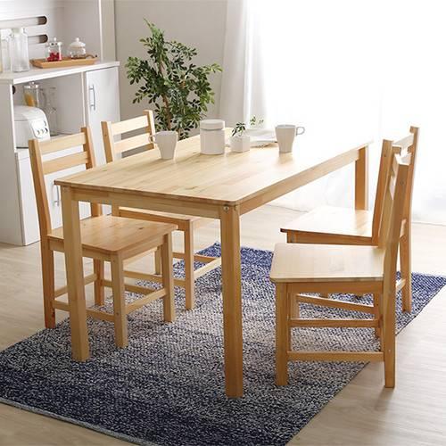 ダイニングセット ダイニングテーブルセット おしゃれ カフェ モダン 安い 北欧 4人 四人 4人用 四人用 椅子 4脚 75×120 5点 ナチュラル パイン材