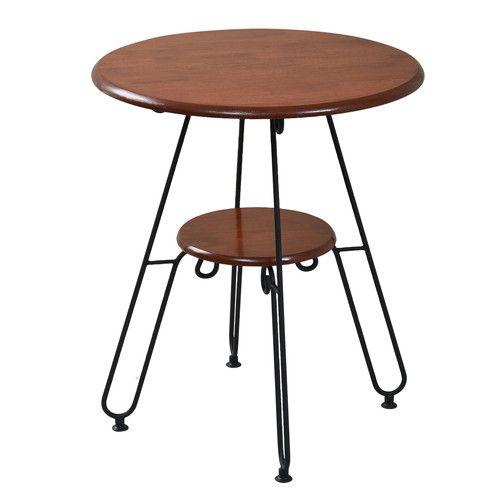 ダイニングテーブル おしゃれ 安い 北欧 コーヒーテーブル 丸 丸型 丸テーブル 2人用 二人用 コンパクト 小さめ アンティーク 幅60cm 高さ70 棚付き アイアン 脚